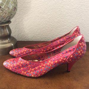 Vintage ZOE red color block woven kitten heels